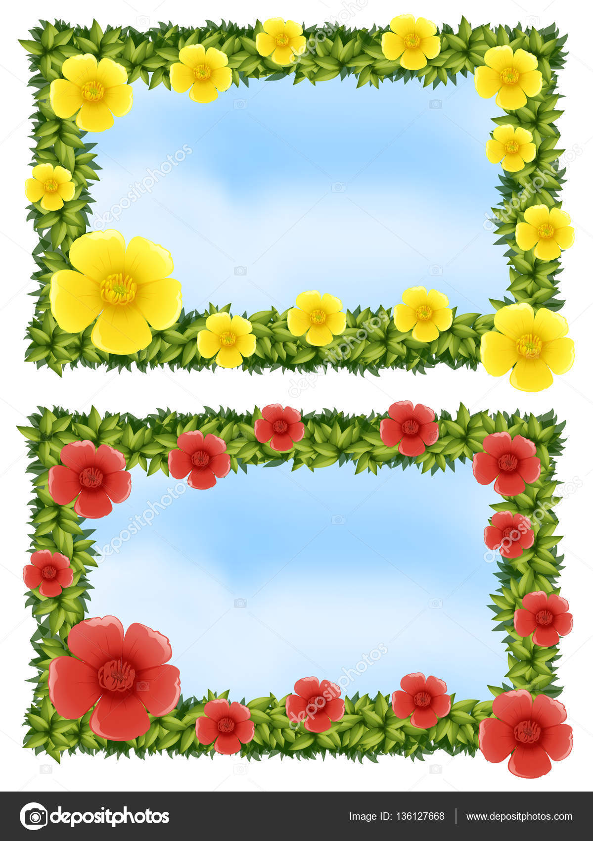 Two flower frames with sky background — Stock Vector ...