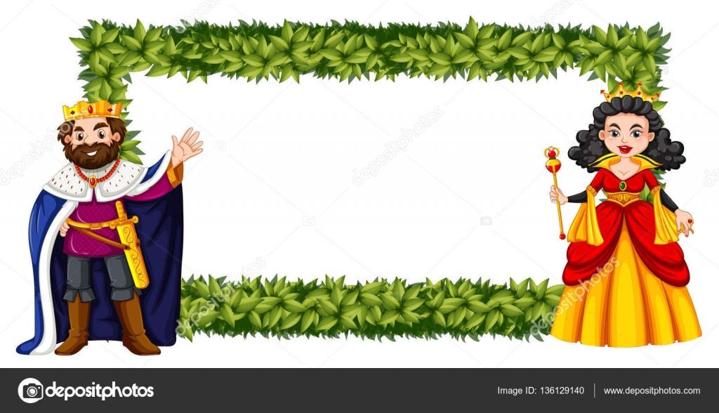 Diseño del marco con el rey y la reina — Archivo Imágenes ...