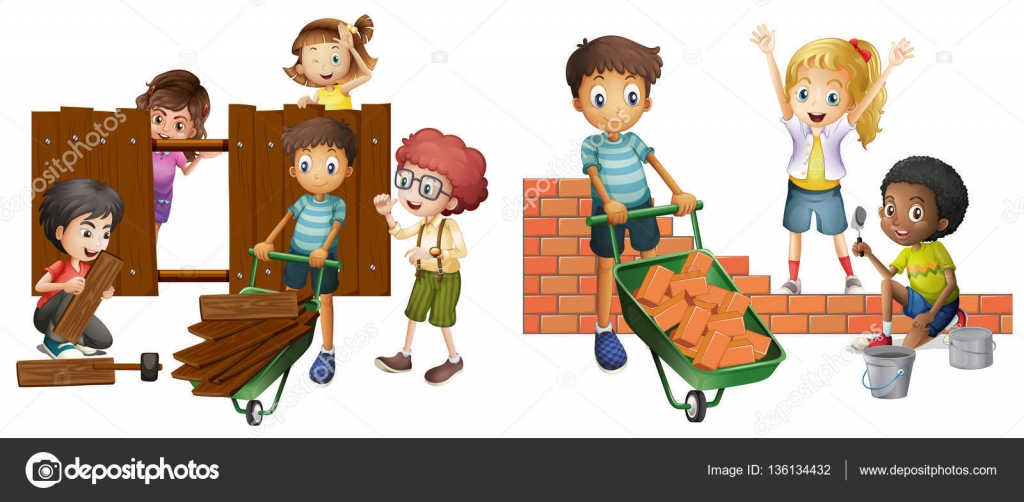 Children Building Brick Wall And Wooden Fence Illustration Vector By Interactimages