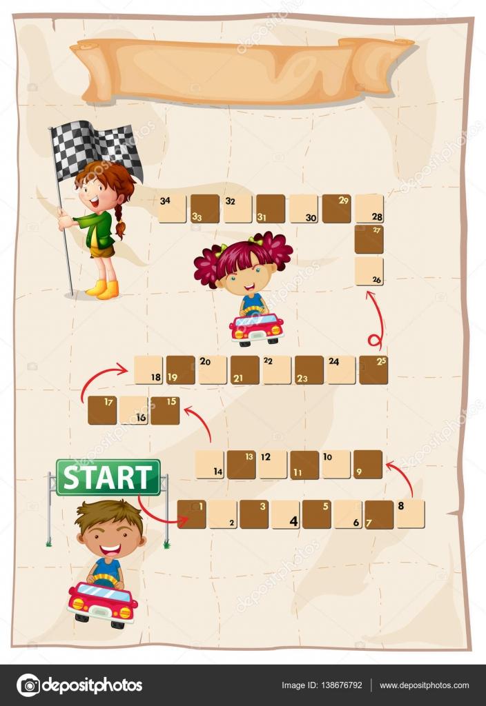 Brettspiel Vorlage mit Kindern Rennwagen — Stockvektor ...