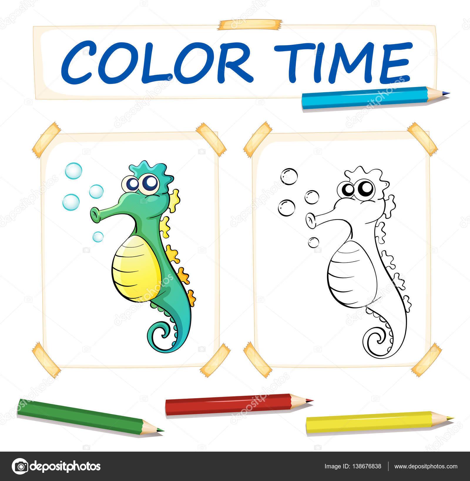 Färbung-Vorlage mit niedlichen Seepferdchen — Stockvektor ...