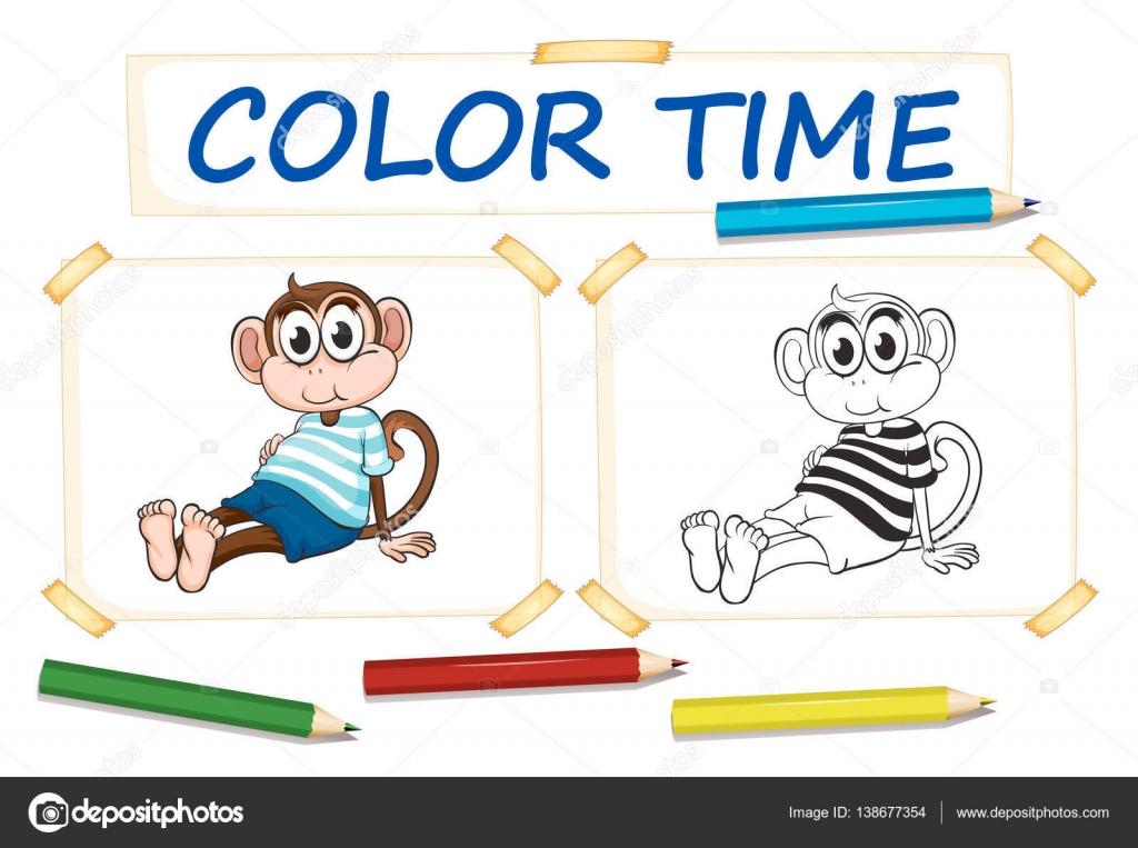 Färbung-Vorlage mit niedlichen Affen — Stockvektor © interactimages ...