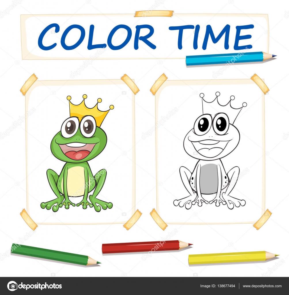 Kleurplaten Kikkerkoning.Kleuren Sjabloon Met Kikkerkoning Stockvector C Interactimages