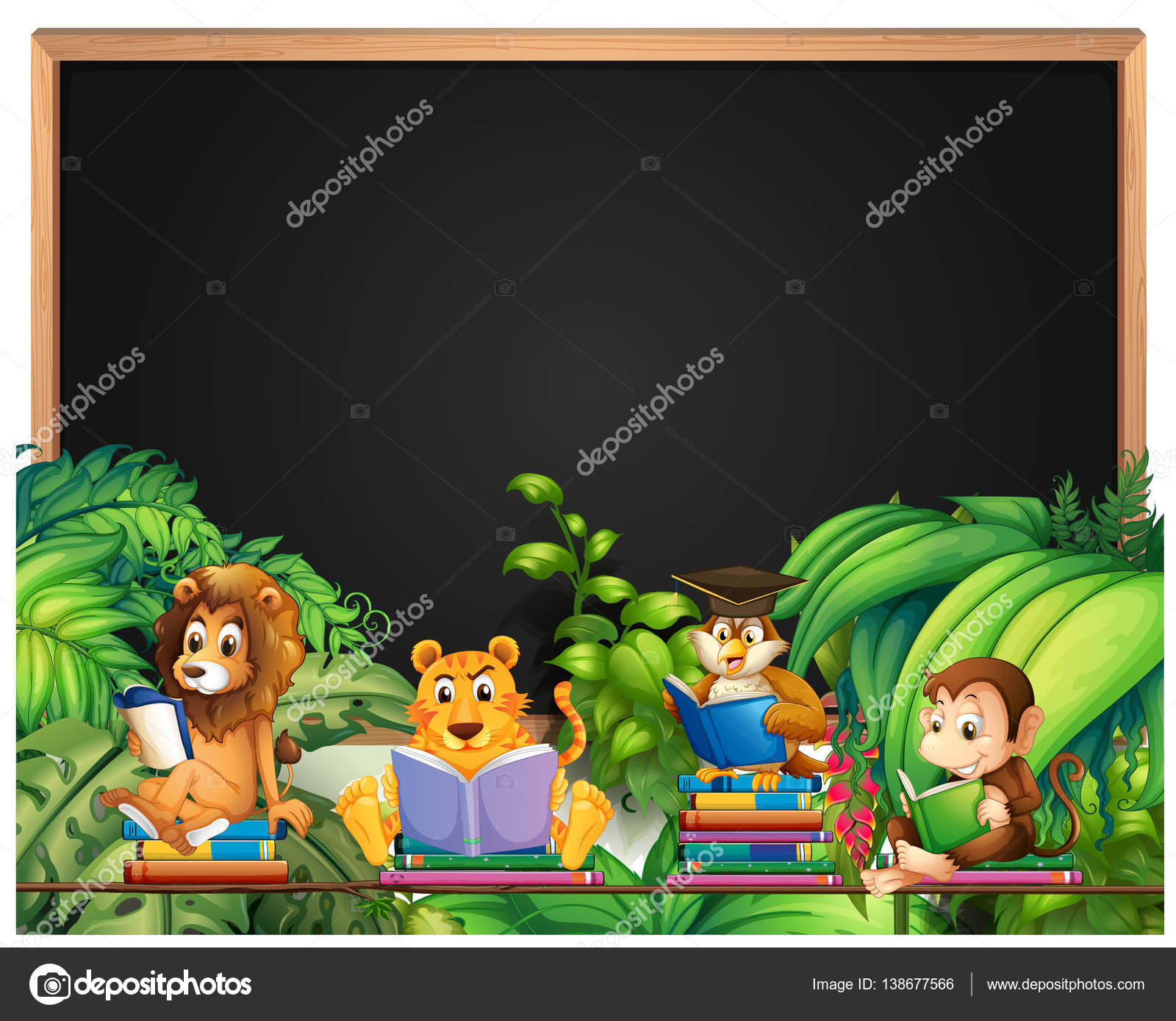 frame design with wild animals reading book stock vector