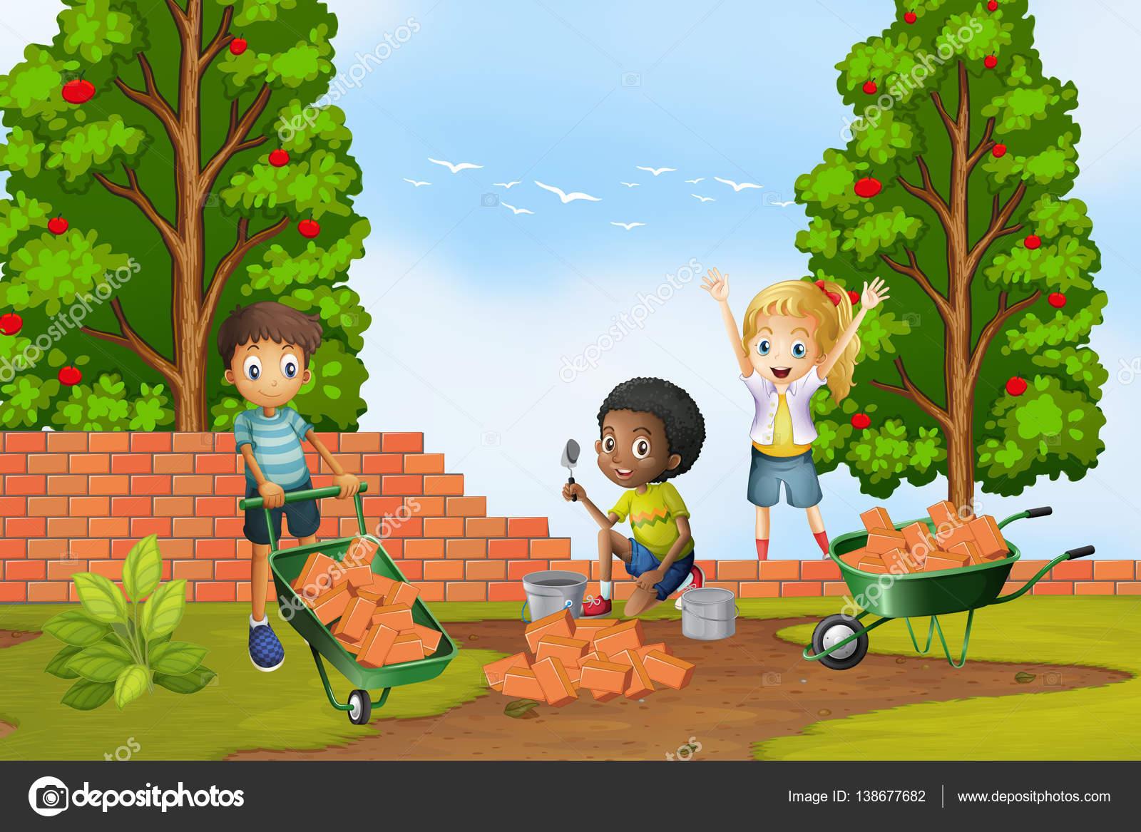 Трое детей, укладки кирпича на стене — Векторное ... Трое Детей