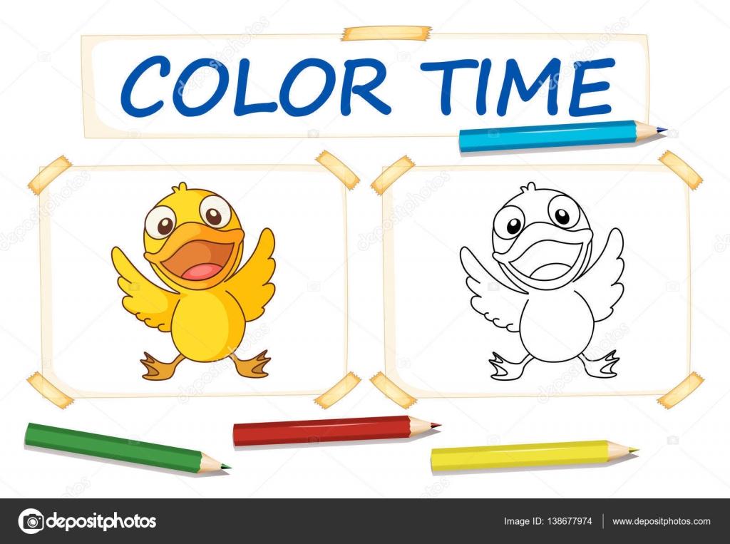 Plantillas para colorear con pato pequeño — Archivo Imágenes ...