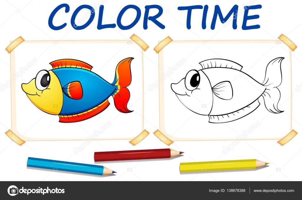 Plantilla para colorear con peces lindo — Archivo Imágenes ...