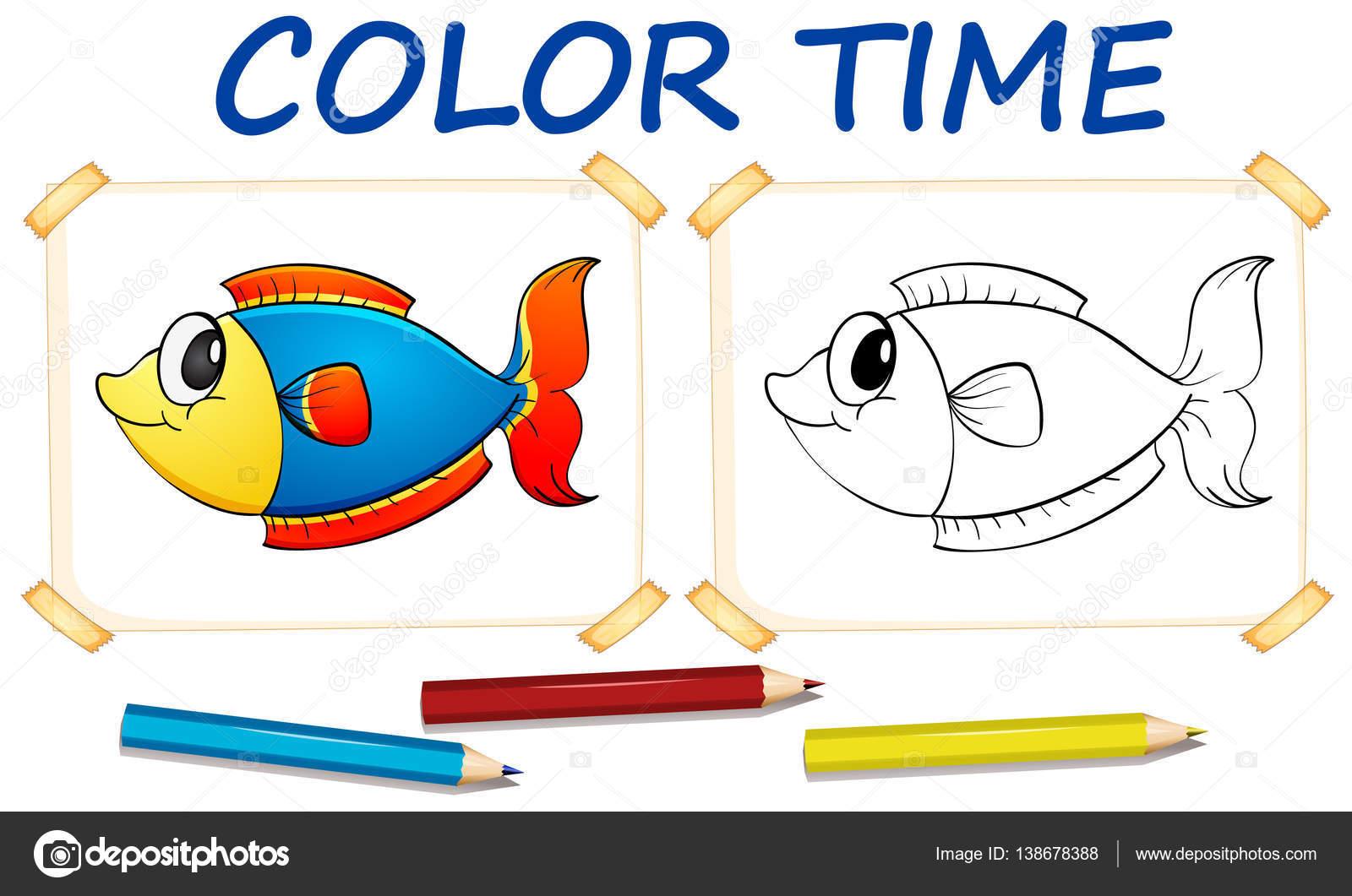Plantilla para colorear con peces lindo — Vector de stock ...