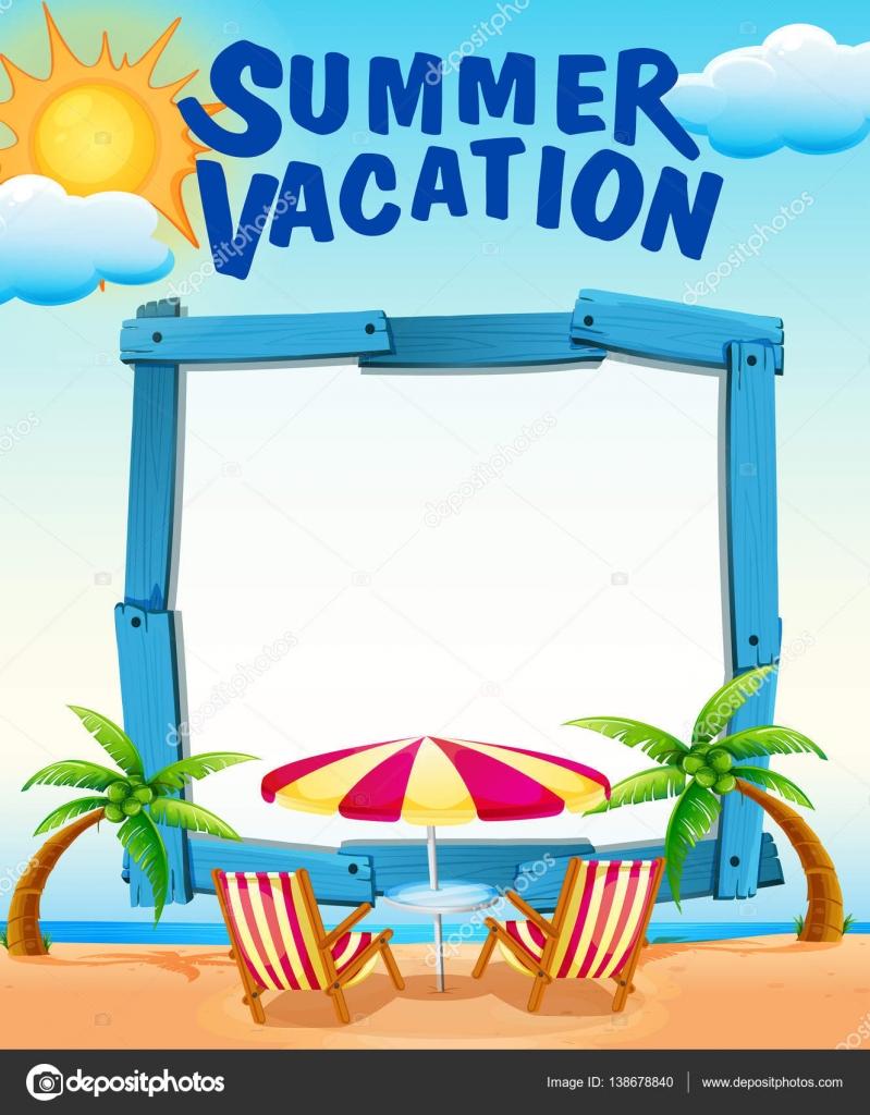 Modello di cornice con vacanze estive sulla spiaggia for Scarica clipart
