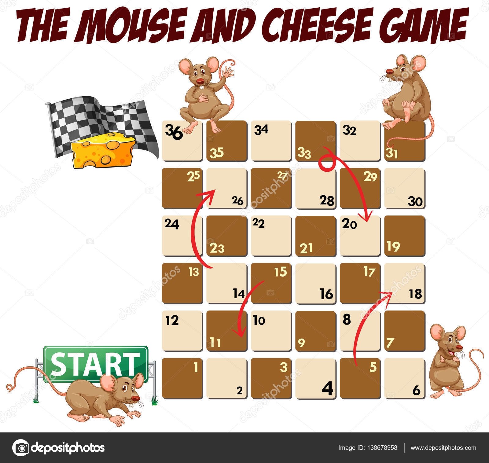 Brettspiel Vorlage mit Maus und Käse — Stockvektor © interactimages ...