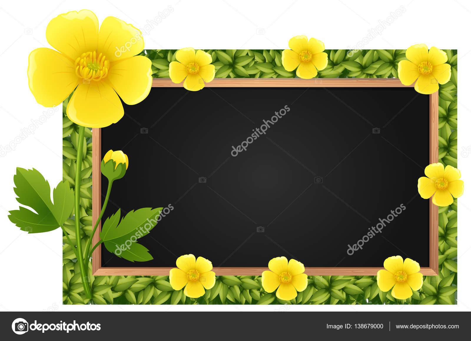 Grenze-Vorlage mit gelben Butterblumen — Stockvektor ...