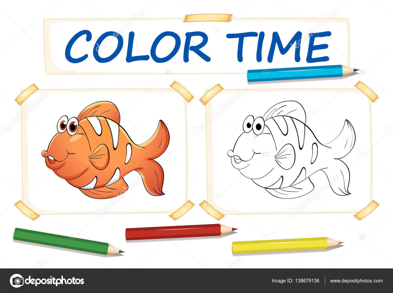 Plantillas para colorear con peces payaso — Archivo Imágenes ...