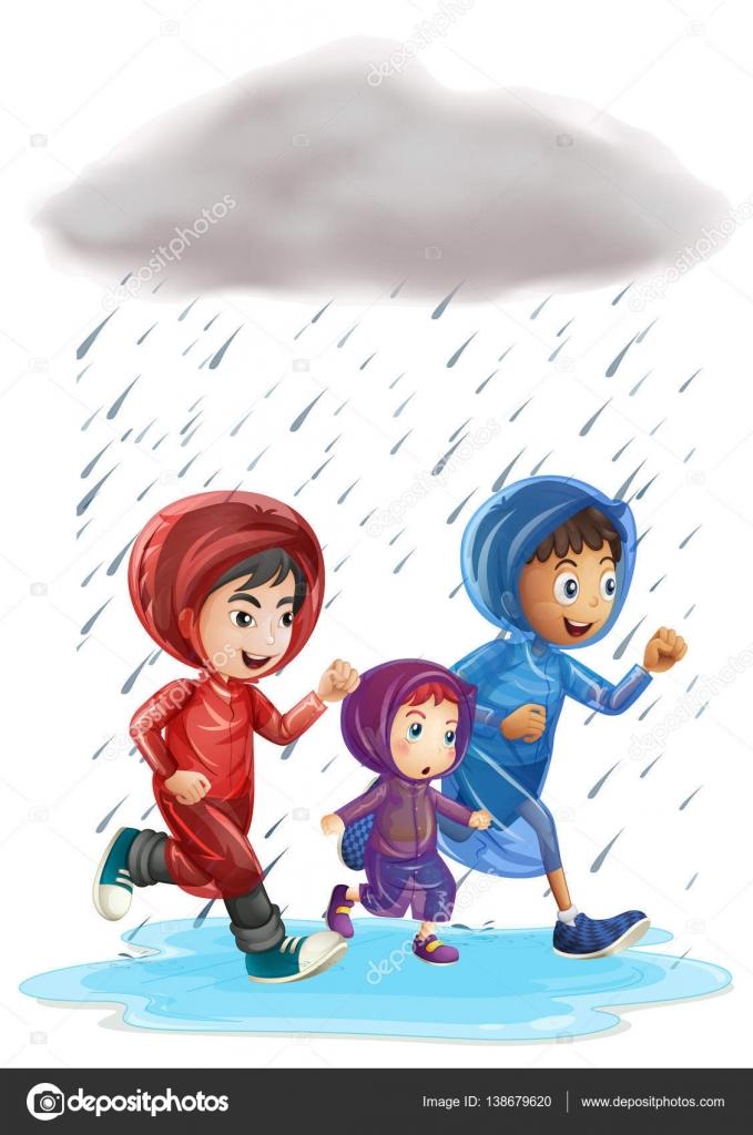 Трое детей, работающих в дождь — Векторное изображение ... Трое Детей