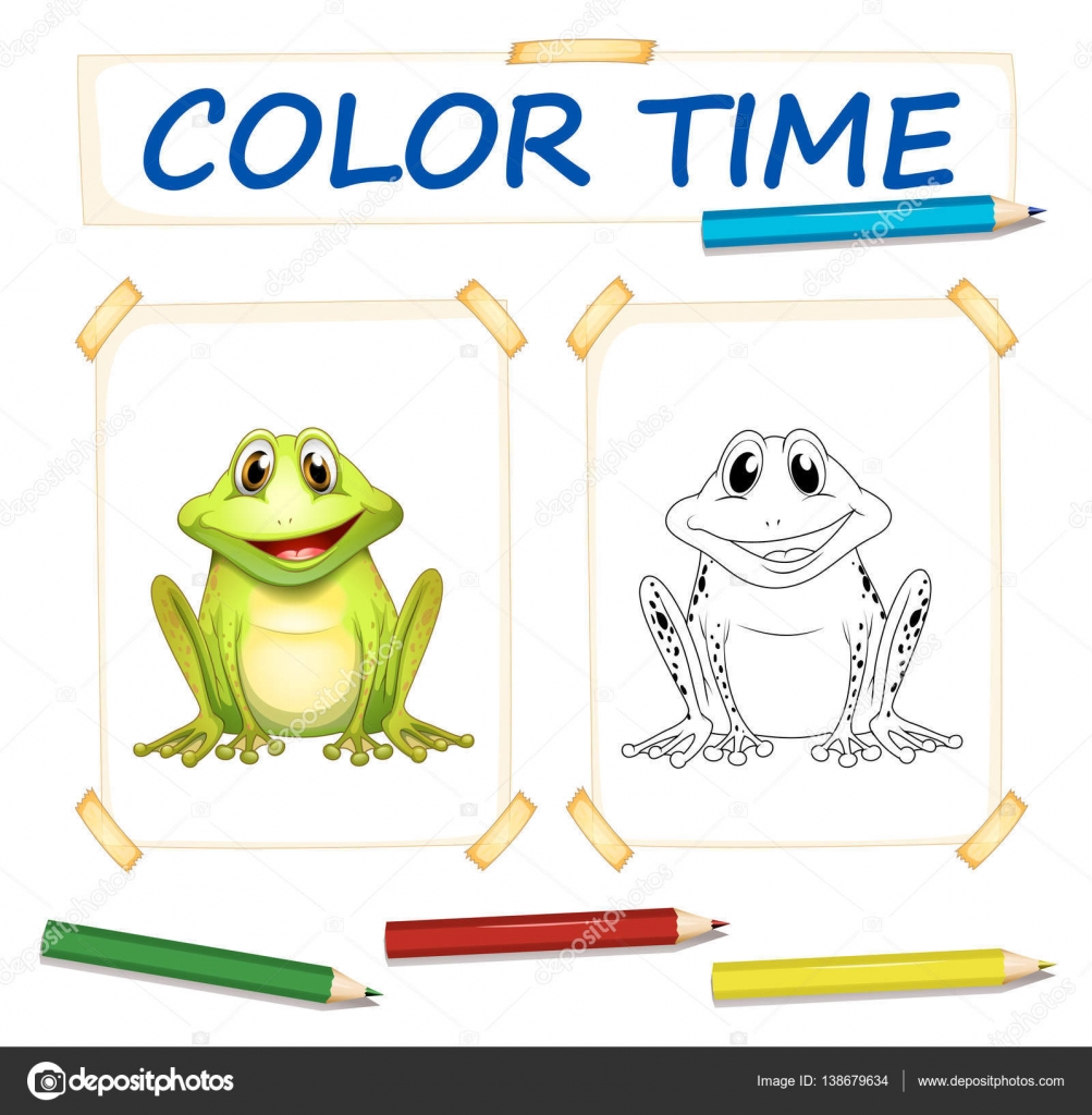 Plantillas para colorear con Linda rana — Archivo Imágenes ...