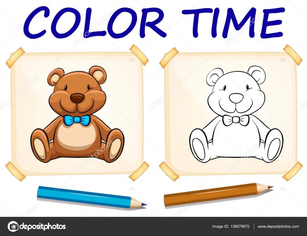 Färbung-Vorlage mit Teddybär — Stockvektor © interactimages #138679670