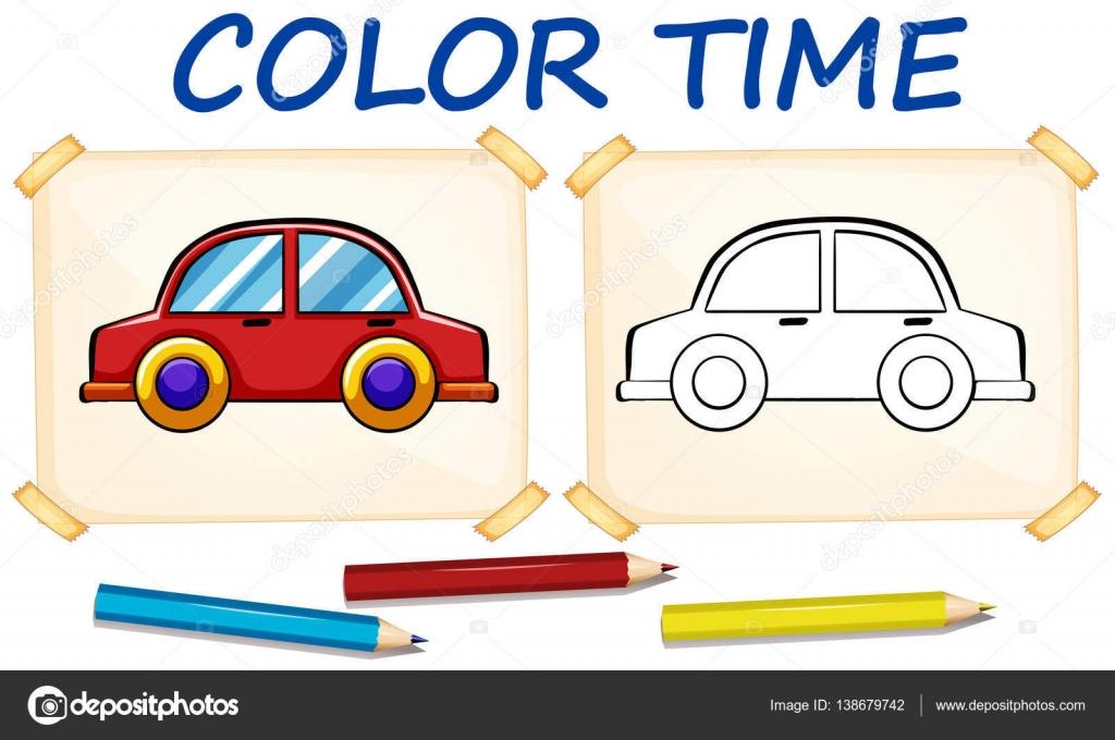 Plantillas para colorear con coche — Vector de stock ...