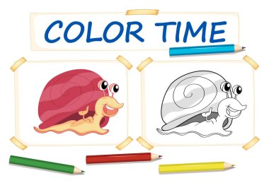 Coloring template with cute snail
