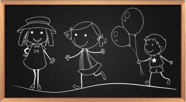 Doodles of children on board illustration stock vector