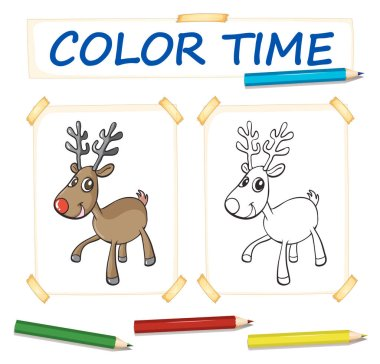 Coloring template with happy reindeer
