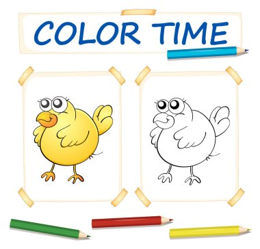 Coloring paper template with yellow chick