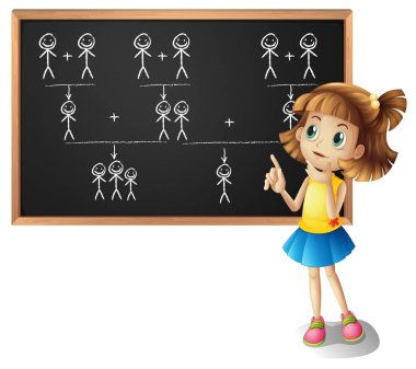 Little girl and family tree on the board
