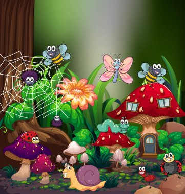 Many types of bugs in forest