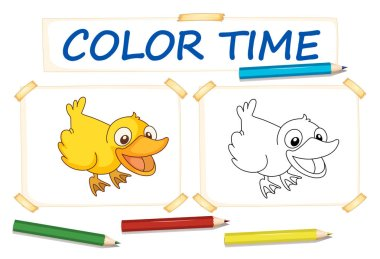 Coloring template with cute duck