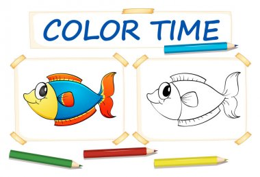 Coloring template with fish