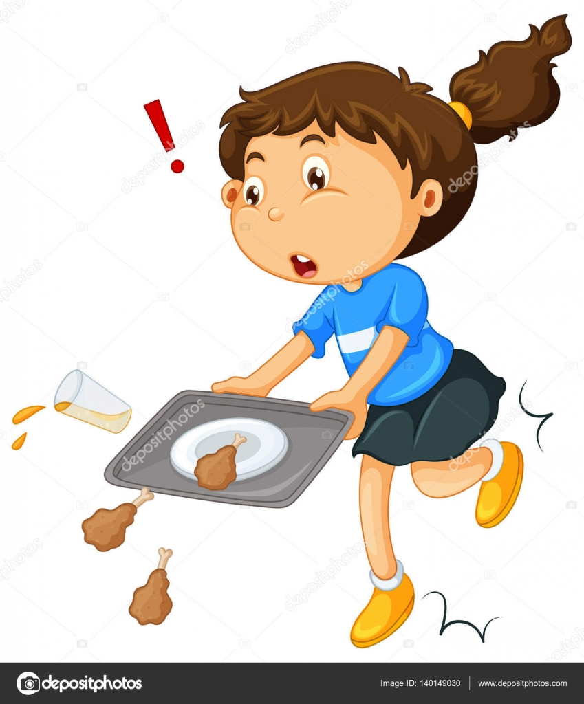 Girl Dropping Food On The Floor Stock Vector
