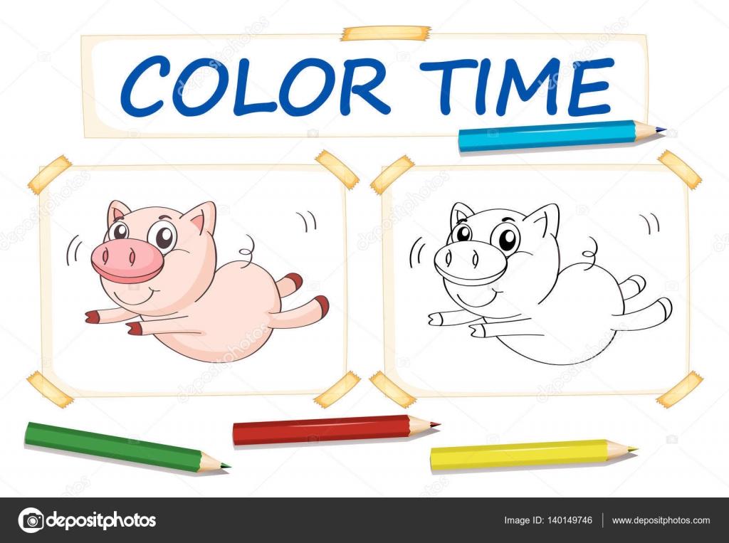 Plantillas para colorear con cerdo lindo — Archivo Imágenes ...