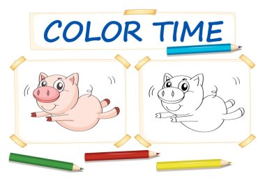 Coloring template with cute pig