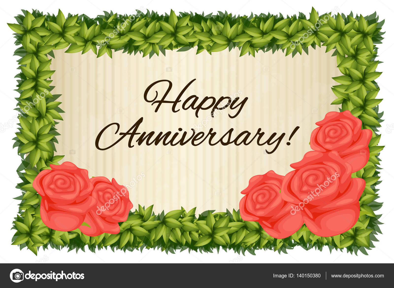 Happy anniversary card template with red roses Vector – Anniversary Card Template