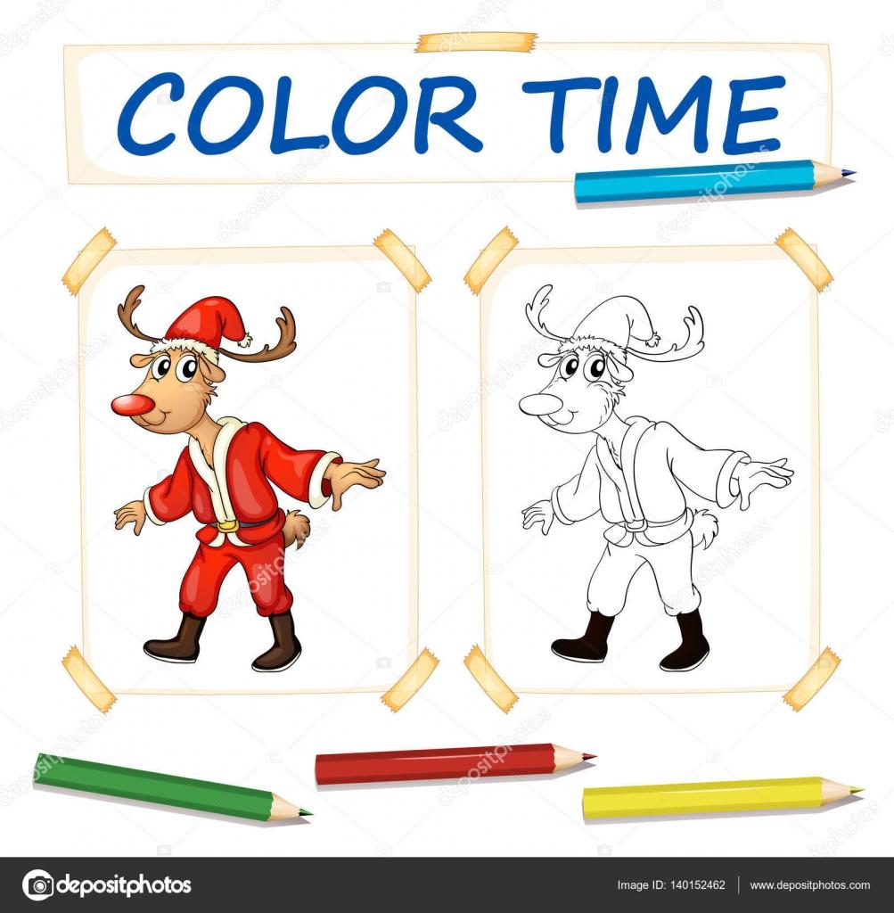 Plantillas para colorear con renos en traje de santa — Archivo ...