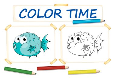 Coloring template with puffer fish