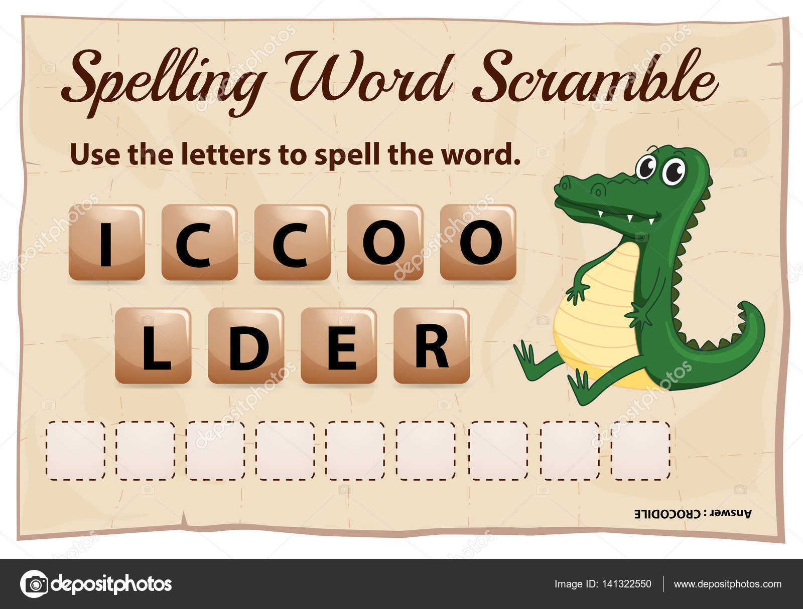 spelling word scramble game template with crocodile stock vector