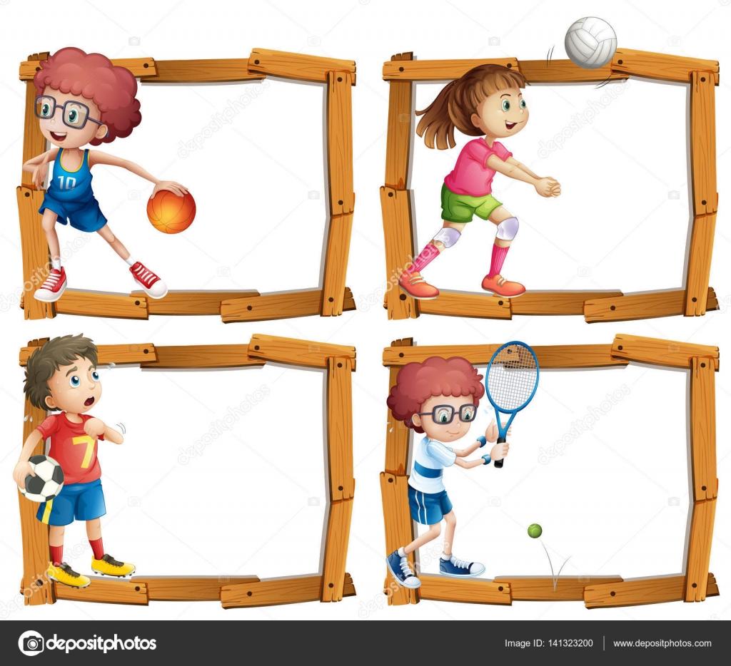 mod u00e8le de cadre avec les enfants faire du sport  u2014 image vectorielle interactimages  u00a9  141323200