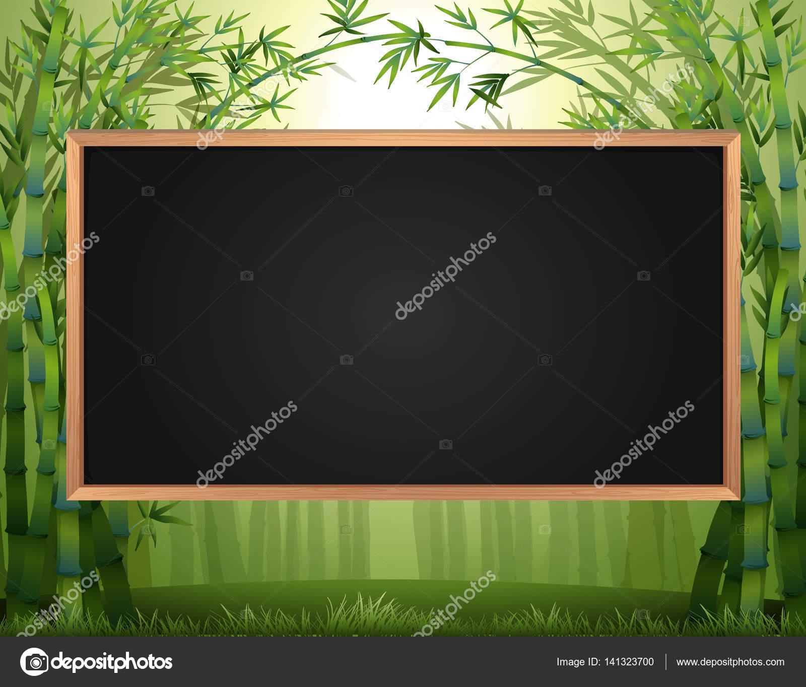 Diseño del marco con el bosque de bambú en fondo — Vector de stock ...