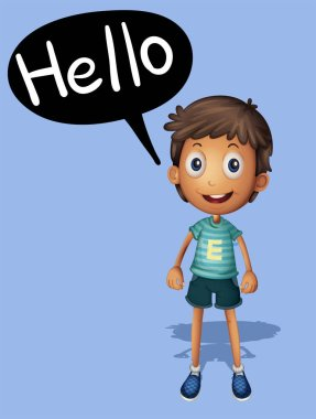 Boy saying hello on blue background