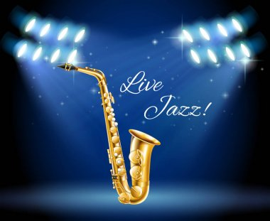 Saxophone on bright stage