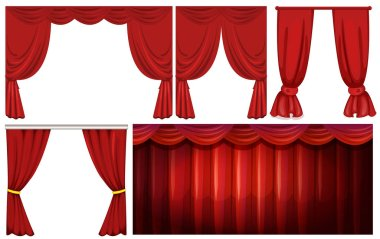 Different designs of red curtain