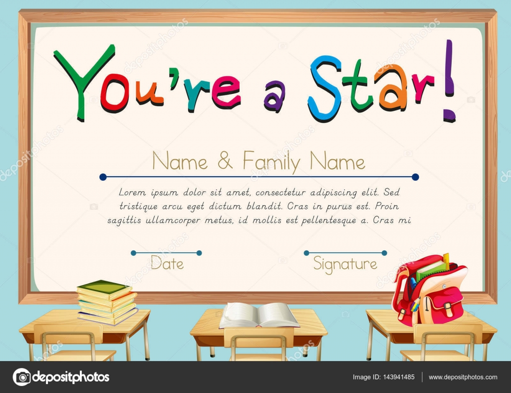 Certificate template with books in classroom background for Classroom certificate template