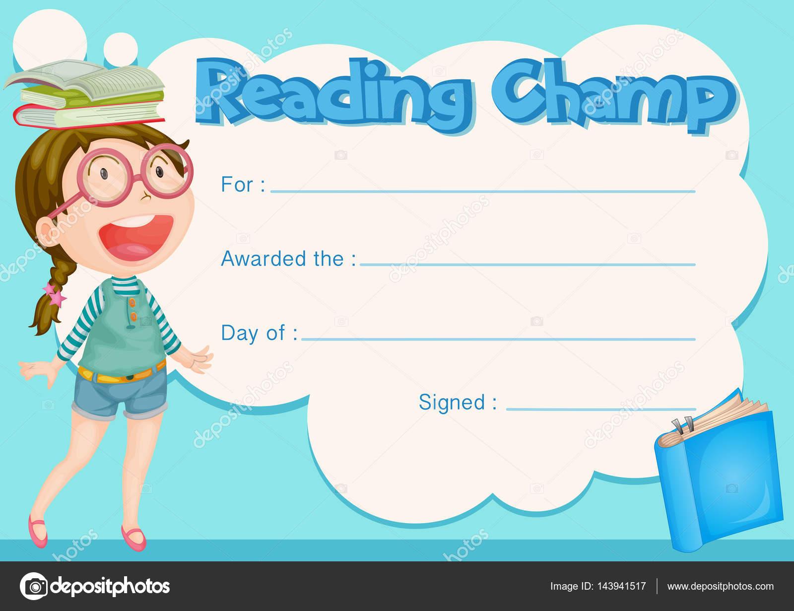 Zertifikat-Vorlage mit Mädchen und Buch Hintergrund — Stockvektor ...