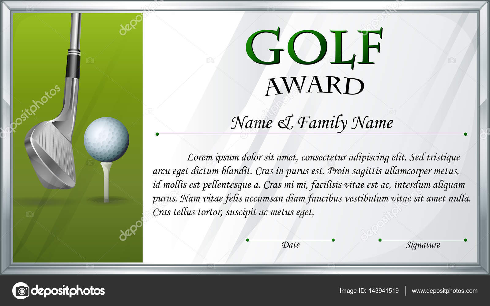 Certificate Template For Golf Award Stock Vector Interactimages