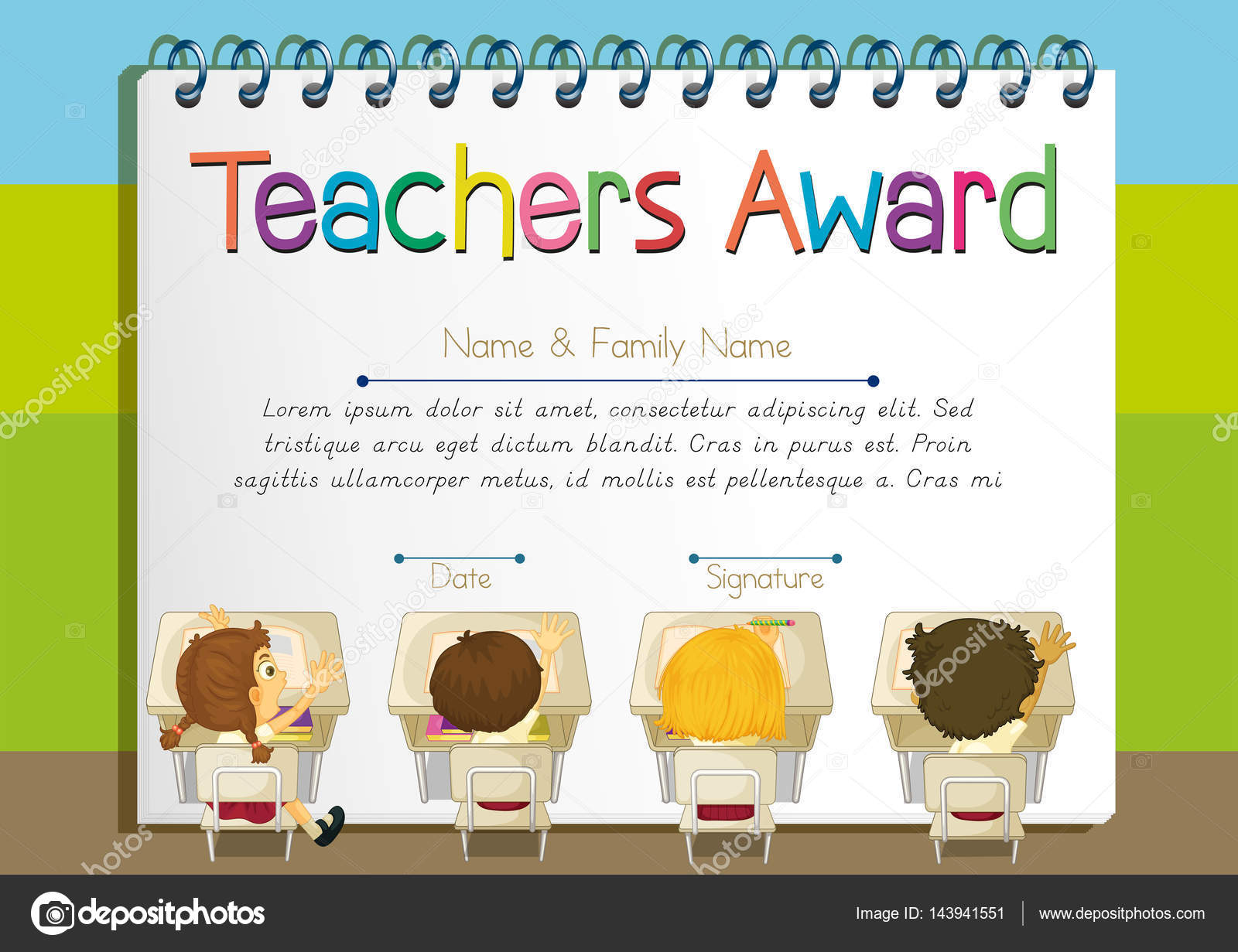 Certificate template for teachers award stock vector certificate template for teachers award illustration vector by interactimages yelopaper Images