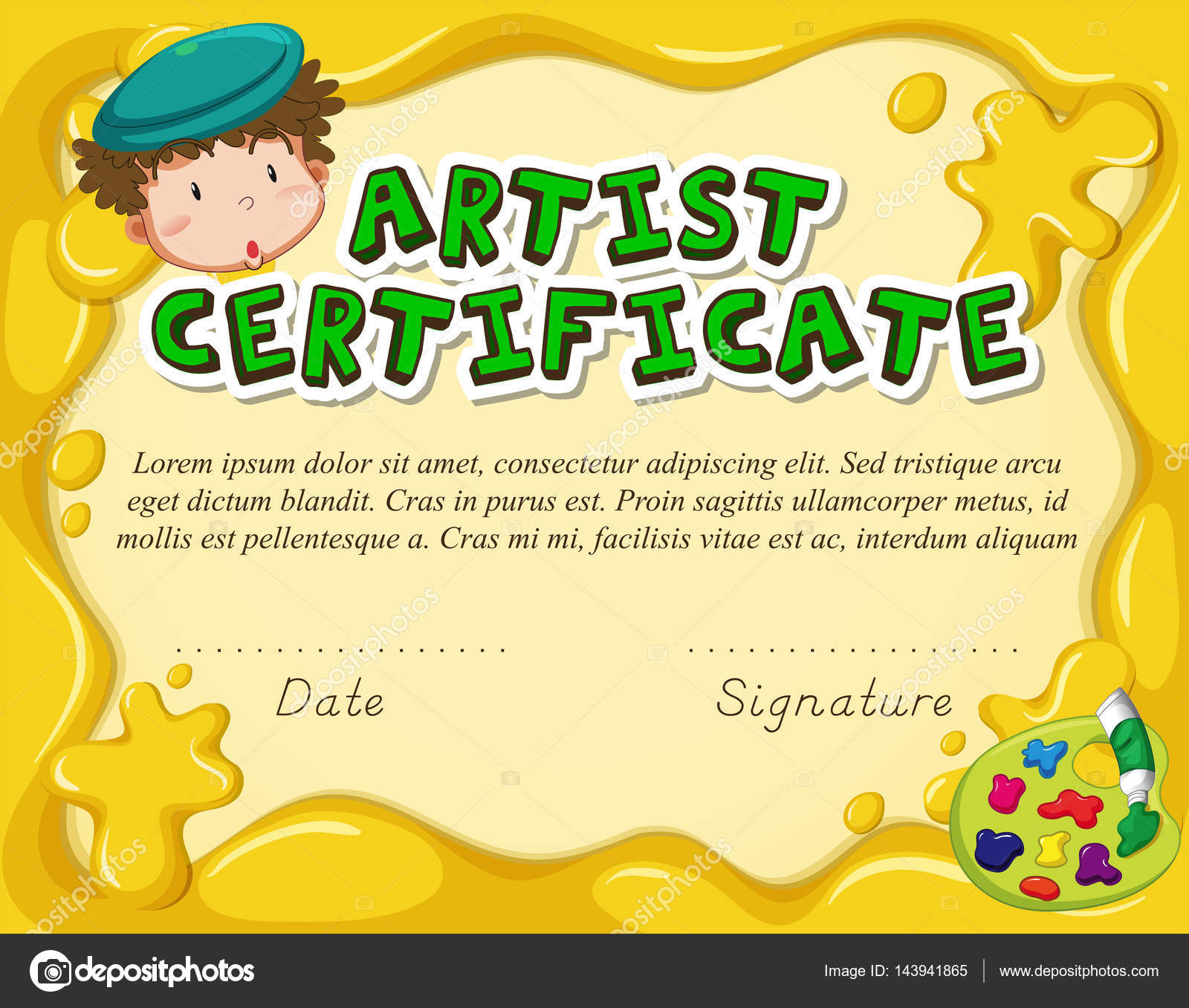 Certificate template for artist — Stock Vector © interactimages ...