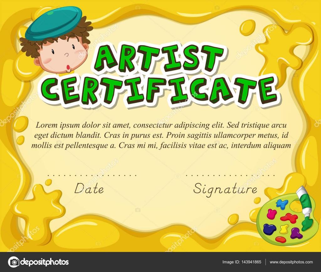 Zertifikat-Vorlage für Künstler — Stockvektor © interactimages ...