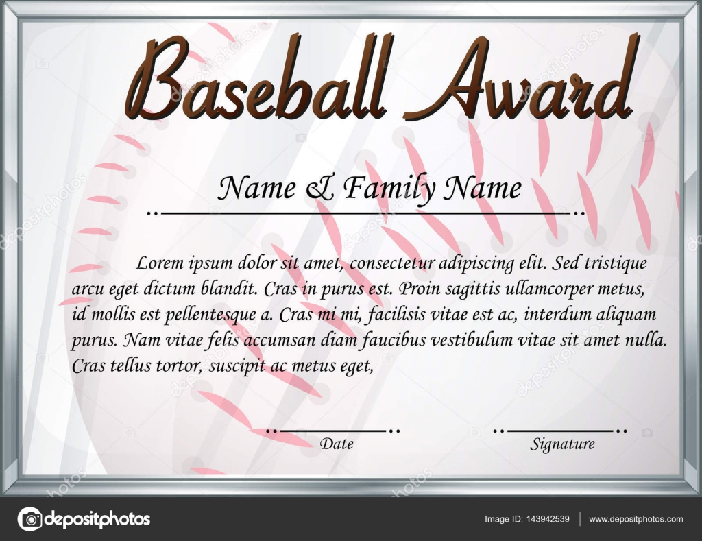 Certificate template for baseball award stock vector certificate template for baseball award illustration vector by interactimages yadclub Image collections
