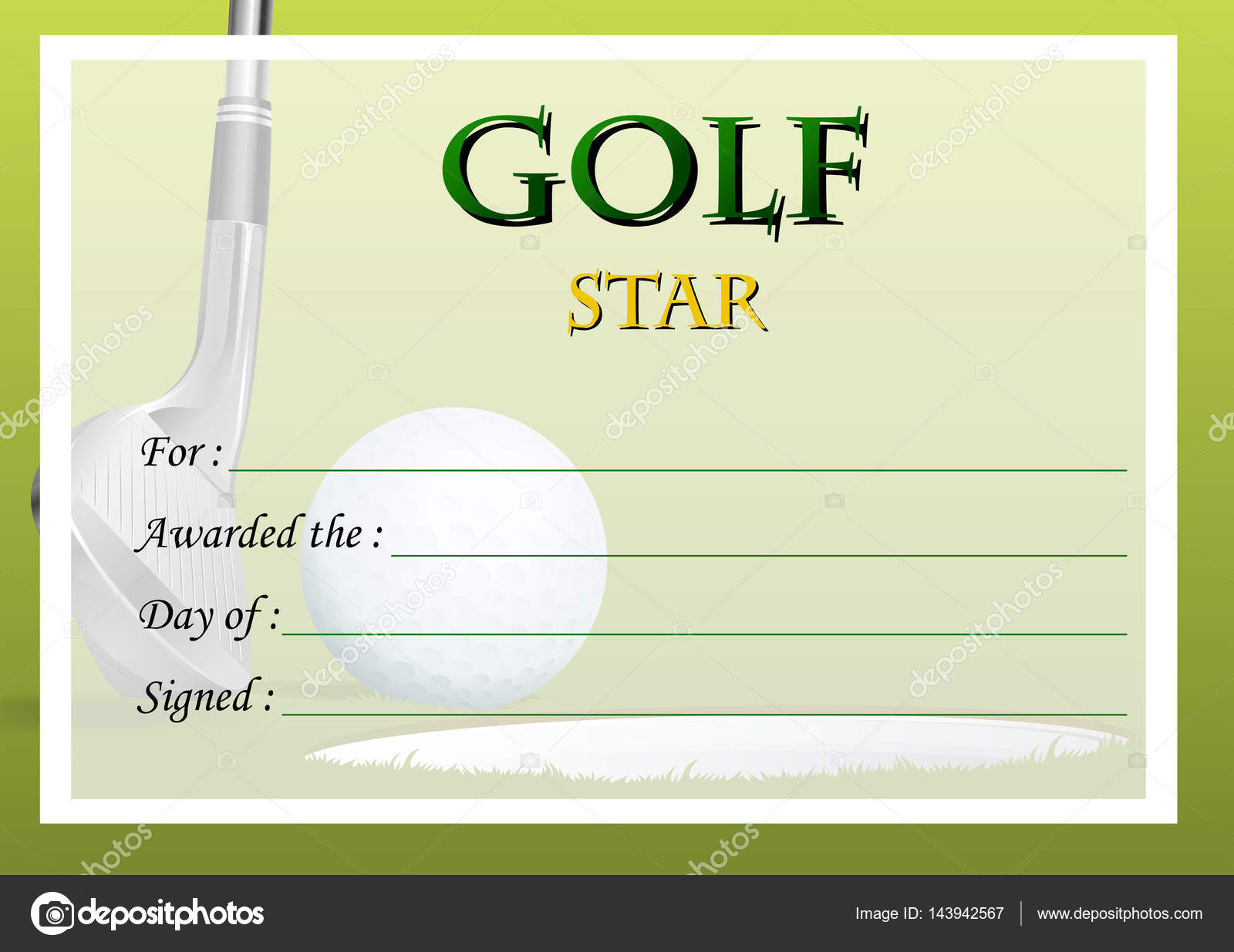 Certificate template for golf star — Stock Vector