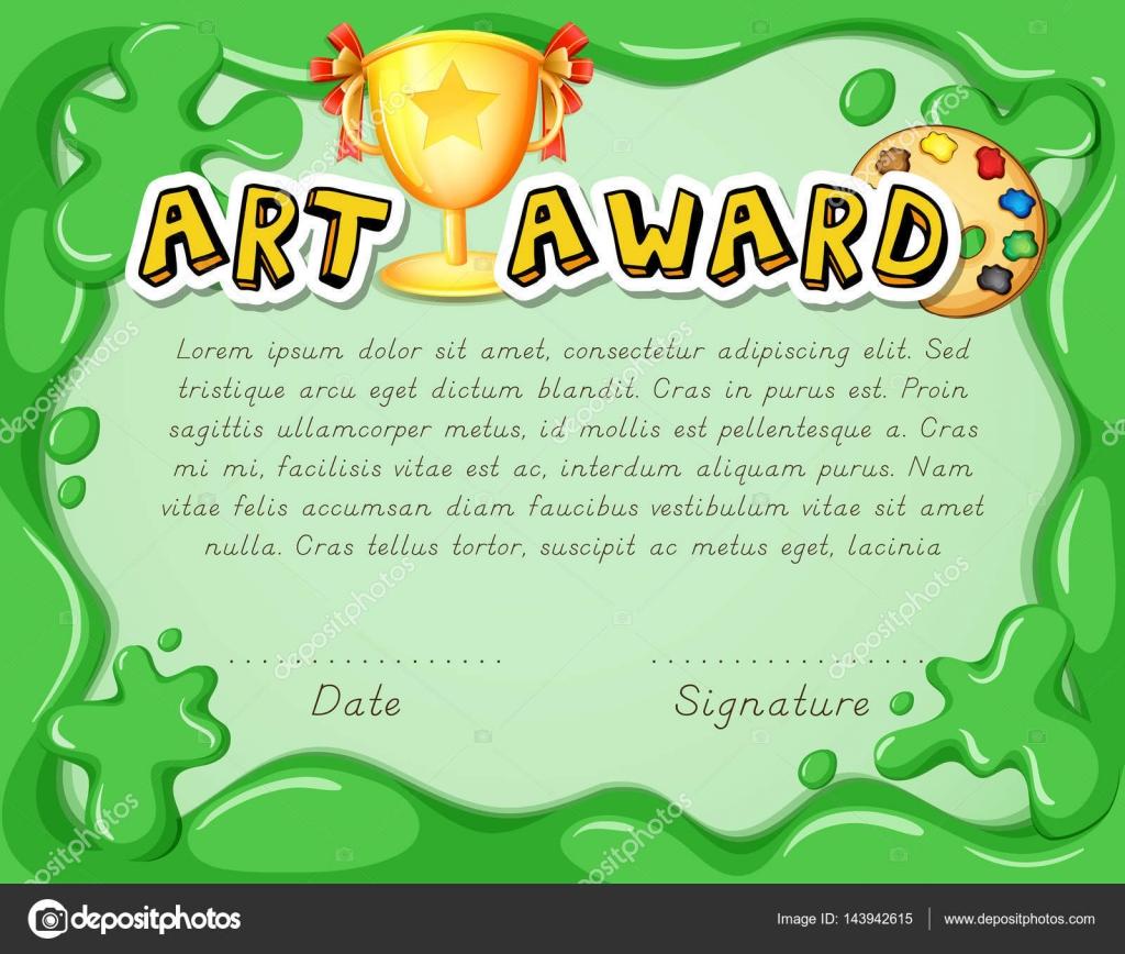 Zertifikat-Vorlage mit Trophäe auf grünem Hintergrund — Stockvektor ...