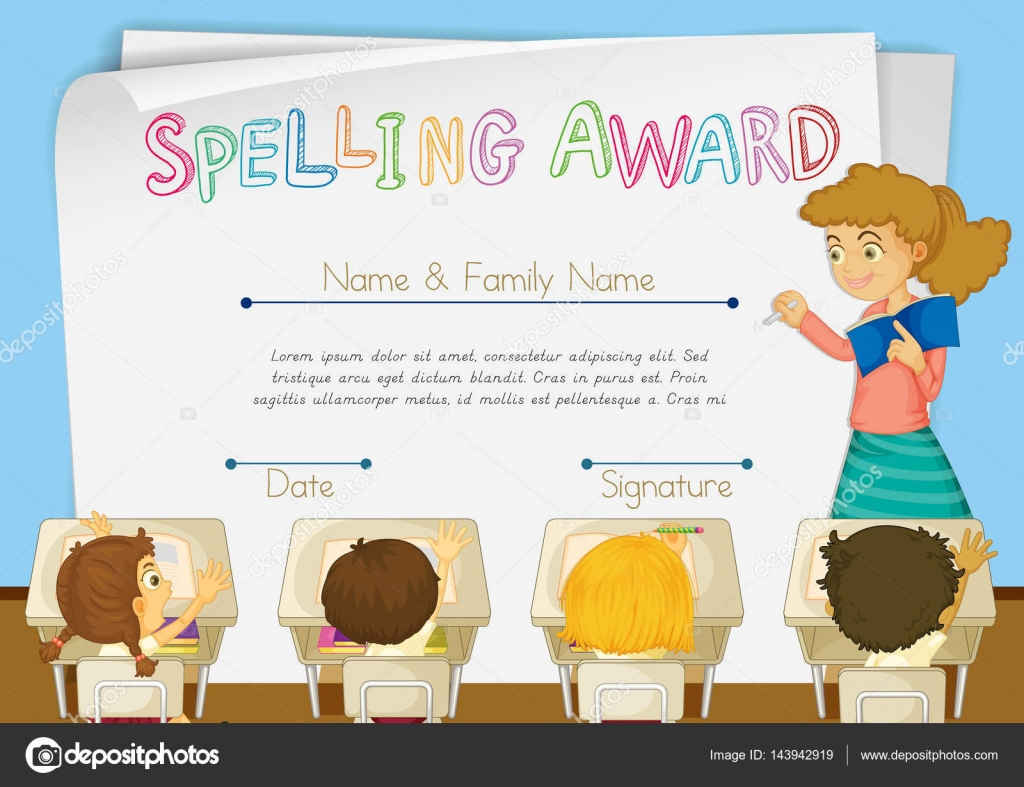 Certificate template for spelling award stock vector certificate template for spelling award illustration vector by interactimages yelopaper Image collections